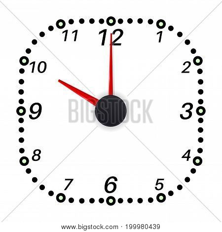 Clock face. Ten oclock. Vector illustration isolated on white background