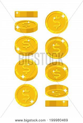 Gold dollar views cartoon style isolated. The gold dollar is at different angles around its axis for designers and illustrators. Rotation of a gold coin in the form of a vector illustration