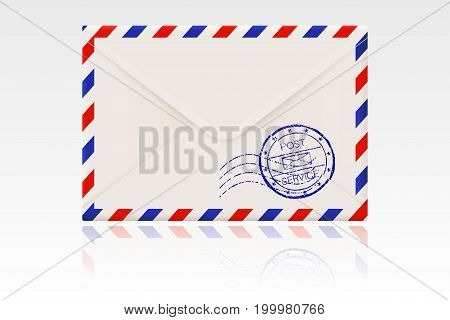 International mail envelope backside with postal stamps. Vector 3d illustration isolated on white background