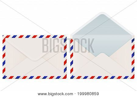 International mail envelope backside. Closed and open. Vector 3d illustration isolated on white background