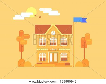 Flat composition of the school. It's time for autumn. Yellowed bushes and trees. Vector illustration.