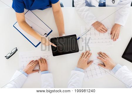medicine, healthcare and cardiology concept - group of doctors with cardiograms, clipboard and tablet pc computer at hospital