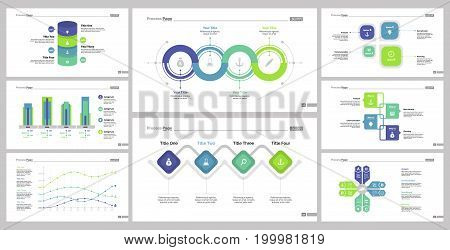 Infographic design set can be used for workflow layout, diagram, annual report, presentation, web design. Business and research concept with process, line, bar and percentage charts.