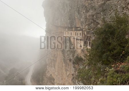 The ancient Christian ascetic monastery built in the mountain