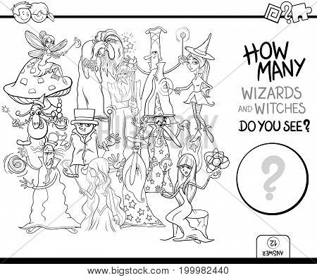 Counting Wizards Coloring Page Activity