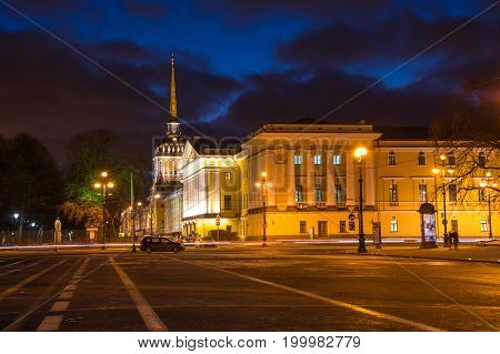 SAINT- PETERSBURG RUSSIA - FEBRUARY 01 2016: Building of Admiralty in the night Saint Petersburg Russia