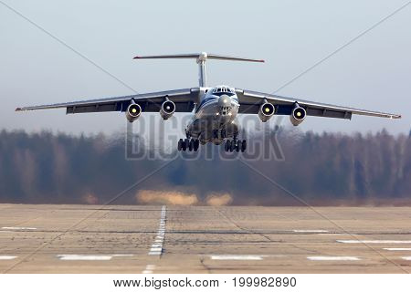 Kubinka, Moscow Region, Russia - February 27, 2014: Ilyushin IL-76MD RA-76733 of russian air force takes off at Kubinka air force base.