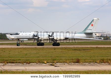 Zhukovsky, Moscow Region, Russia - October 13, 2014: Tupolev Tu-95MS Bear 62 RED of russian air force at Zhukovsky.