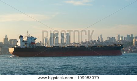 View on tanker in Bosphorus and cityscape of Istanbul, Turkey