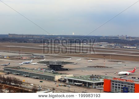 Sheremetyevo, Moscow Region, Russia - April 7, 2014: Panorama of Sheremetyevo international airport taken from helicopter.