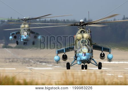 Kubinka, Moscow Region, Russia - April 24, 2014: Mil Mi-24 57 WHITE of Russian Air Force at Kubinka air force base.