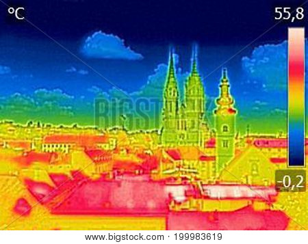 Infrared thermovision image panorama of Zagreb showing difference temperature