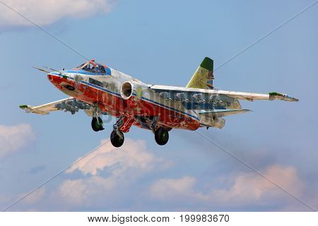 Kubinka, Moscow Region, Russia - July 14, 2011: Former Sky Hussars aerobatics team Sukhoi Su-25SM takes off at Kubinka air force base.