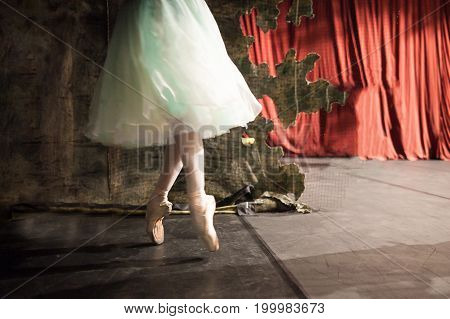 outfit, profession, dancing concept. thin legs of weightless, full of air, magnificent ballerina in pretty dress who dancing and warming up behind the curtains and decorations