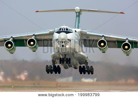 Kubinka, Moscow Region, Russia - April 21, 2014: Ilyushin IL-76TD EZ-F427 Turkmenistan Airlines takes off at Kubinka air force base.