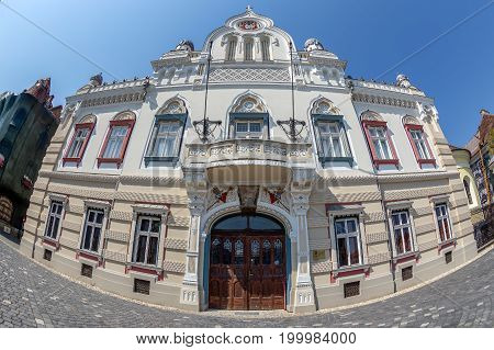 TIMISOARA ROMANIA - AUGUST 16 2017: Building of Serbian Vicariate in Timisoara Romania located in Union Square dating from 1745 - 1747. Orthodox bishop's residence.