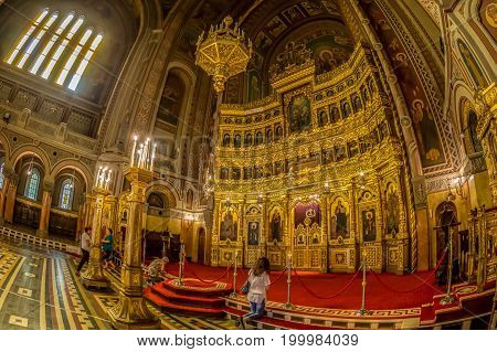 TIMISOARA ROMANIA - AUGUST 16 2017: Interior of Timisoara Orthodox Cathedral the seat of Metropolis of Banat. Construction is dedicated to the Three Holy Hierarchs.