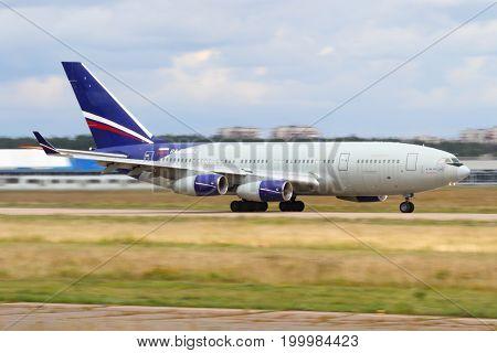 Zhukovsky, Moscow Region, Russia - July 3, 2013: IIlyushin IL-96-300 RA-96002 taking off at Zhukovsky.