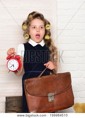 Kid choose career. Small girl with curler in hair. Child with briefcase and alarm clock. Education and childhood. Little baby secretary with bear.