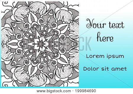 Invitation card template with decorative mandala element.