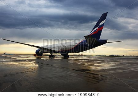 Sheremetyevo, Moscow Region, Russia - 2 May, 2014: Aeroflot Boeing 777-300 VQ-BQE standing at Sheremetyevo international airport.