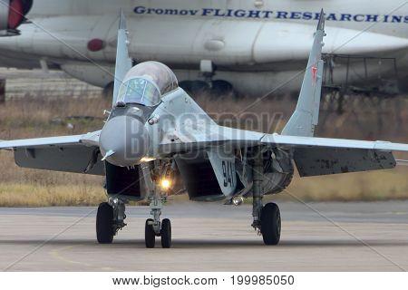 Zhukovsky, Moscow Region, Russia - November 10, 2013: Mikoyan Gurevich MiG-29K 941 BLACK of russian navy jet fighter at Zhukovsky.