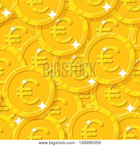 Placer gold euro style seamless pattern. Background of gold euro as a pattern for designers and illustrators. Cover of gold pieces in the form of vector illustration