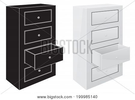 Office cabinet drawers. Black silhouette and 3d illustration. Vector isolated on white background