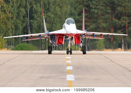Kubinka, Moscow Region, Russia - August 5, 2014: Mikoyan Gurevich MiG-29 05 BLUE at Kubinka air force base.