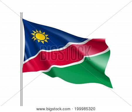 Namibia flag. Illustration of African country waving flag on flagpole. Vector 3d icon isolated on white background. Realistic illustration