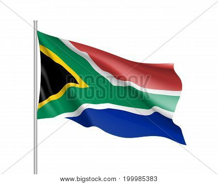 South Africa flag. Illustration of African country waving flag on flagpole. Vector 3d icon isolated on white background. Realistic illustration