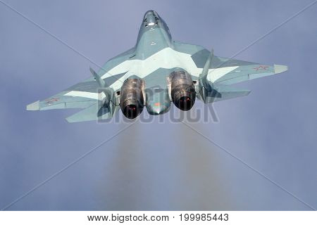 Zhukovsky, Moscow Region, Russia - August 23, 2015: Sukhoi T-50 PAK-FA 054 BLUE of russian air force perfoming demonstration flight in Zhukovsky during MAKS-2015 airshow.