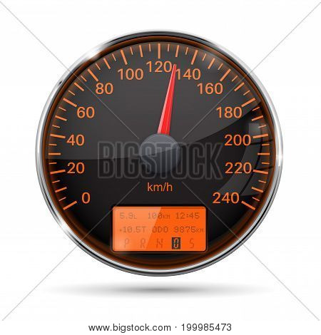 Speedometer. Round black gauge with chrome frame. Vector 3d illustration isolated on white background
