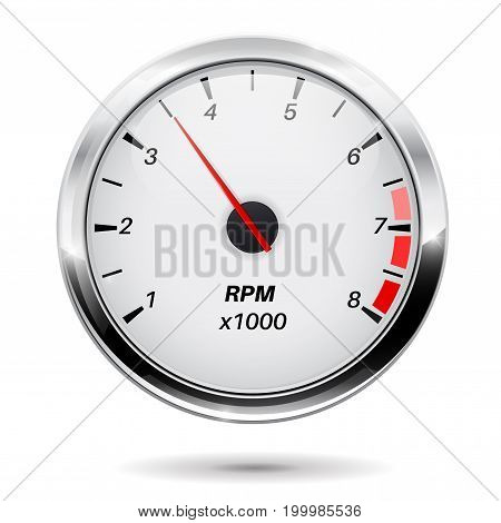 Tachometer. Round gauge with chrome frame. Vector illustration isolated on white background