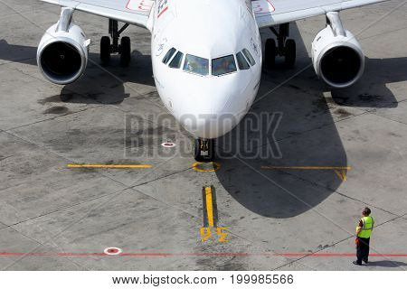 Sheremetyevo, Moscow Region, Russia - June 4, 2014: Air France Airbus A320 at Sheremetyevo international airport.