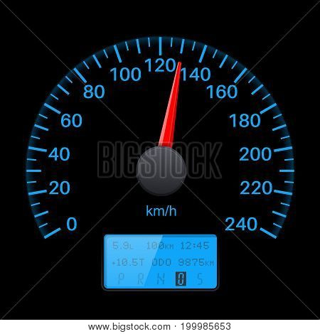 Black speedometer scale with blue back light. Speed gauge. Vector 3d illustration on black background