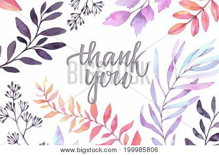 Hand Drawn Watercolor Illustration. Autumn Botanical Clipart. Thank You Card With Purple Leaves, Her