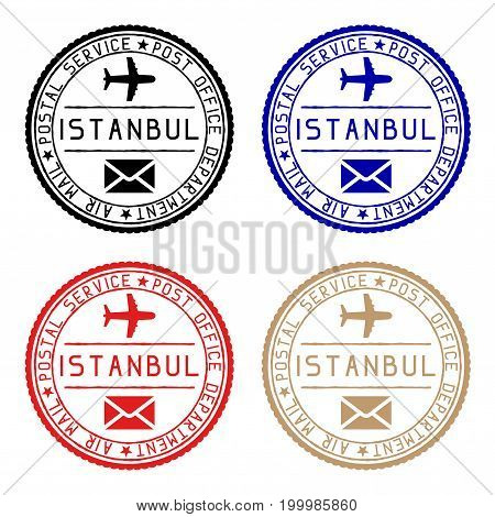 Istanbul mail stamps. Colored set of round impress. Vector illustration isolated on white background