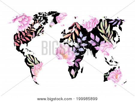 Watercolor Illustration. Black World Map With Colorful Flowers And Branches. Watercolor Abstract Bac
