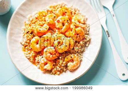 Prawns in sweet chilli sauce with barley