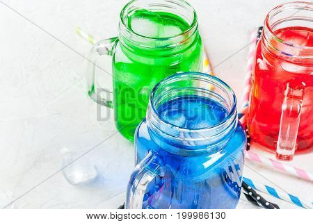 Bright Colorful Summer Drinks With Ice