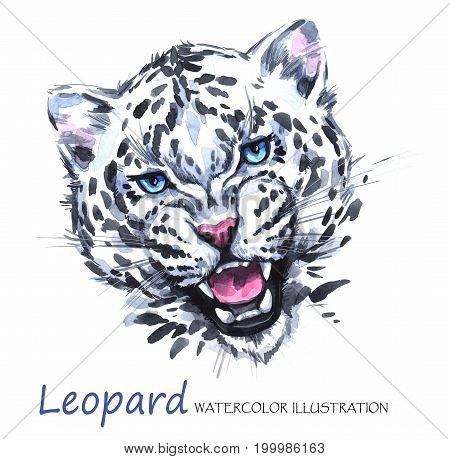 Watercolor roaring leopard on the white background. African animal. Wildlife art illustration.