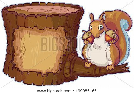 Vector cartoon clip art illustration of an upright wooden tree log with open space in the bark for custom designs. Features a red squirrel on a branch holding two acorn nuts. Log and character in separate layers with lines and fills separated also.