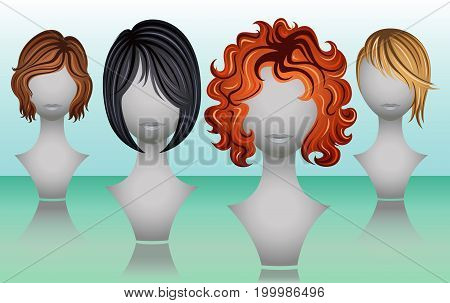 Female short hair wigs in natural colors