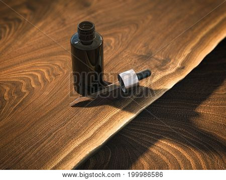 Bottle with pipette on the wooden table. 3d rendering