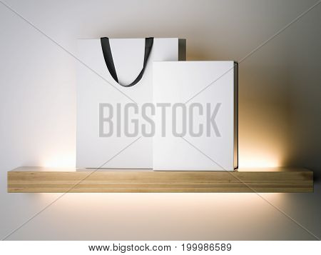 White shopping bag and box on the wooden shelf. 3d rendering