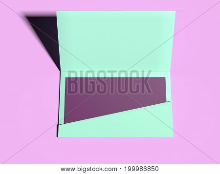 Green envelope with purple blank sheet on pink floor. 3d rendering