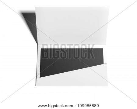 White envelope with black blank sheet on bright floor. 3d rendering