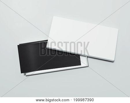 Blank White box with black flyer on dark floor. 3d rendering