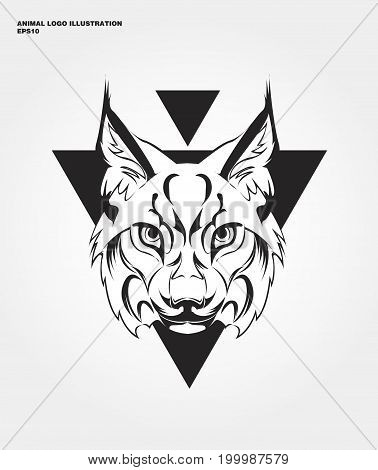 abstract animal logo. Hipster wild animal print for for T-shirts and other apparel. Icon Difference - Lynx